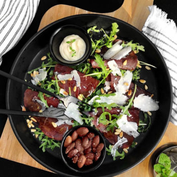 ITALIAN BRESAOLA SALAD  WITH TRUFFLE ROASTED ALMONDS AND AIOLI